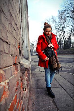 red Mango coat - black leather Stradivarius boots - light blue H&M jeans