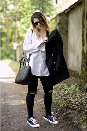 white vintage shirt - black asos jeans - black Converse sneakers