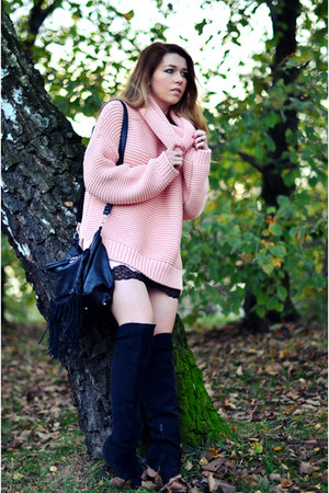 black H&M boots - light pink knit Zara sweater