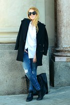 black oversized H&M coat - navy ripped H&M jeans - black lindex bag