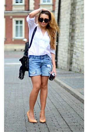 white Zara shirt - nude Zara heels