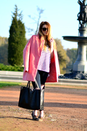 pink oversized reserved coat - black Mango bag