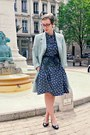 Navy-h-m-dress-light-blue-vintage-coat-black-la-botterie-heels