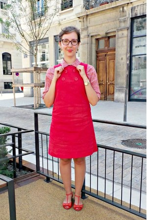 red Naf Naf dress - red monoprix shirt - red San Marina flats