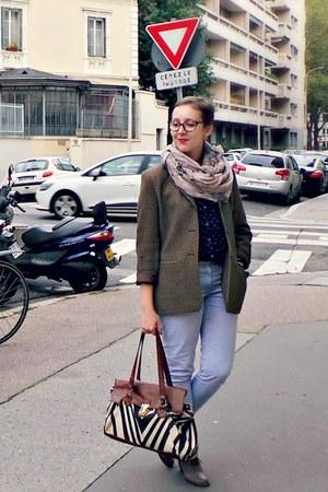 brown vintage blazer - sky blue Gap jeans - navy H&M shirt - brown vintage heels