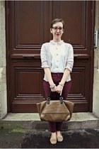 vintage shirt - Zara bag - H&M cardigan - Eram loafers - Zara pants