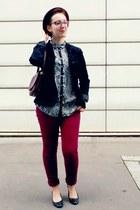 black Naf Naf jacket - crimson H&M jeans - crimson H&M hat - black Zara shirt