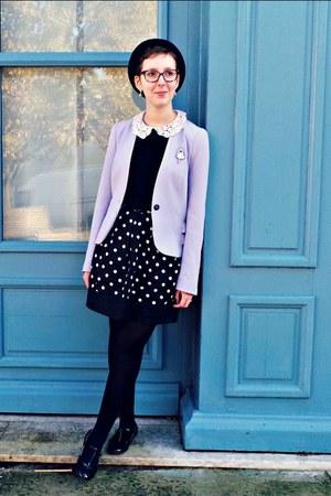 black H&M hat - periwinkle H&M blazer - black Promod skirt - black Naf Naf flats