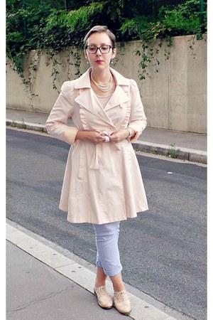 light pink Naf Naf coat - light pink Pimkie t-shirt - periwinkle Gap pants