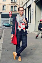 navy monoprix jacket - red vintage bag - white Naf Naf top - navy monoprix pants