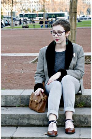 silver H&M jeans - heather gray vintage jacket - brown asos bag