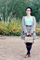 brown vintage skirt - brown Naf Naf jacket - light blue H&M top