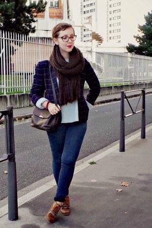 brown andré boots - blue H&M jeans - light blue Gap sweater