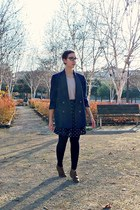 brown andré boots - navy vintage blazer - navy H&M skirt - light pink Pimkie top