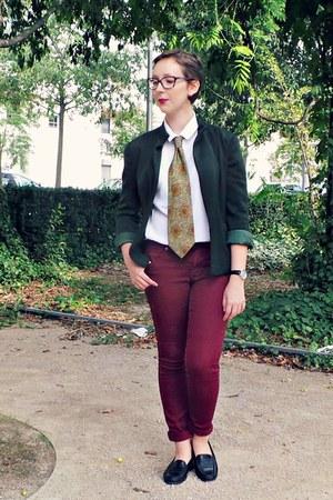 crimson vintage tie - dark green vintage jacket - white vintage shirt