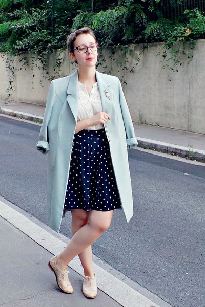 periwinkle vintage coat - ivory Naf Naf shirt - navy H&M skirt