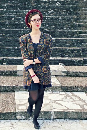 navy vintage jacket - navy H&M dress - crimson H&M hat - navy andré flats