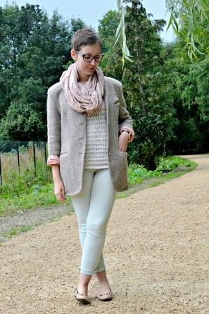 cream Naf Naf sweater - tan vintage coat - light blue Pimkie pants