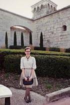 vintage bag - cotton H&M skirt - wool Naf Naf jumper - La Botterie heels