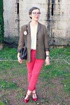 brown vintage jacket - red Be you K jeans - cream vintage shirt