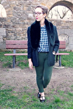 gray vintage jacket - forest green vintage shirt - forest green Zara pants
