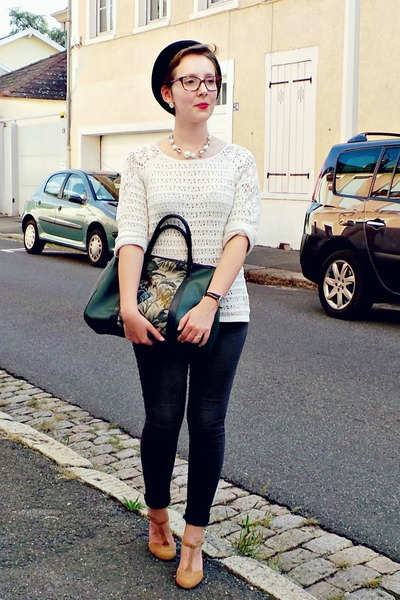 dark green vintage bag - dark gray Pimkie jeans - nude andré heels