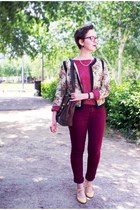 light yellow new look jacket - maroon H&M jeans - brown vintage bag