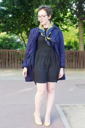 light yellow vintage scarf - gray Zara dress - navy Briefing jacket