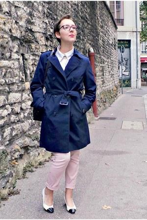 navy cotton Briefing jacket - white monoprix shirt - brown vintage bag