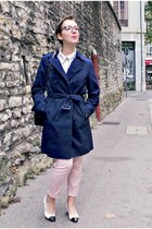 navy cotton Briefing jacket - white monoprix shirt - brown vintage bag