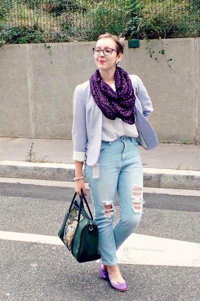 white vintage shirt - light blue Primark jeans - periwinkle H&M jacket