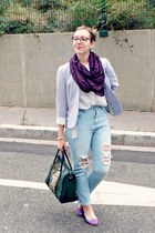 white vintage shirt - light blue Primark jeans - periwinkle H&M jacket