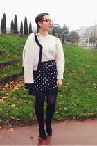 black Promod skirt - eggshell Version Originale jacket - ivory vintage top