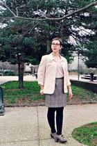 nude vintage blazer - nude Pimkie t-shirt - gray vintage skirt