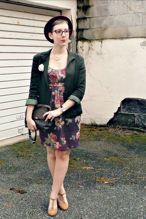 dark green vintage blazer - maroon Zara dress - crimson H&M hat