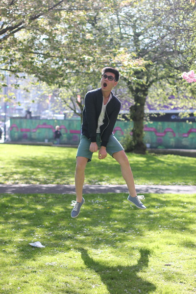navy Zara jacket - sky blue asos shoes - green Topman shorts