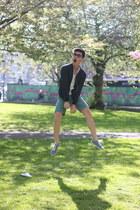 navy Zara jacket - sky blue asos shoes - green Topman shorts