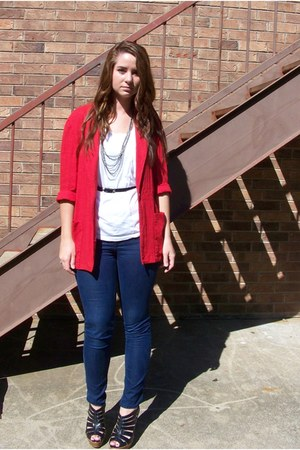 ruby red thrifted blazer - navy Forever 21 jeans