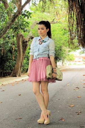 beige pumps - light blue blouse - bubble gum skirt
