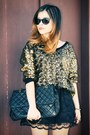 Black-bag-black-skirt-bronze-blouse