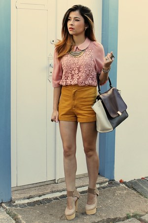 beige heels - crimson bag - tawny shorts - bubble gum blouse