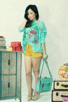 aquamarine bag - light orange shorts - aquamarine cardigan - beige pumps