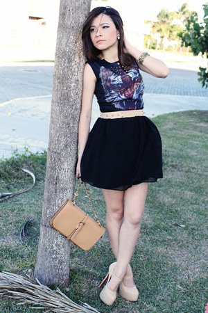 beige shoes - black dress - tan bag