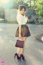 white blouse - maroon bag - light brown skirt - maroon heels