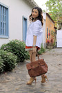 Tawny-shorts-ivory-blazer-brown-bag