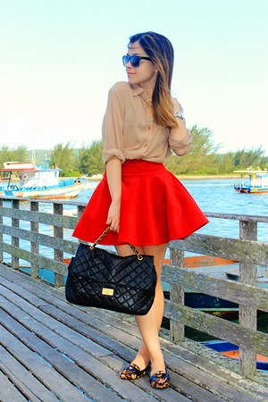 tan blouse - black bag - red skirt - brown flats