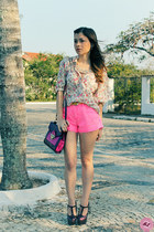 cream shirt - crimson shoes - ruby red bag - hot pink shorts