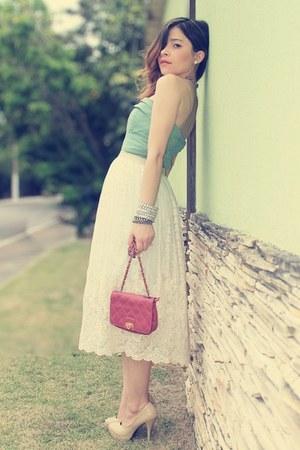 top - bag - skirt - pumps