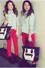 Black-boots-light-blue-shirt-black-bag-red-pants