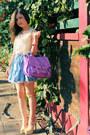 Violet-bag-beige-pumps-sky-blue-skirt-neutral-blouse